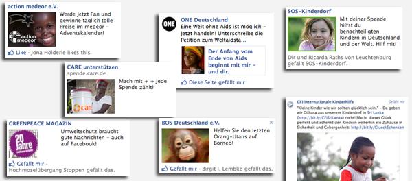 Werbeanzeigen auf Facebook von gemeinnützigen Organisationen Ende 2012