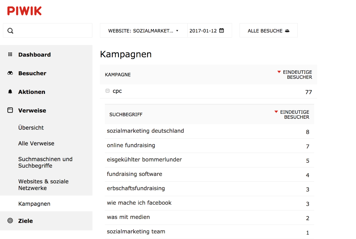 Piwik Screenshot aus dem Bereich Kampagnen-Tracking mit Beispiel von Google AdWords.