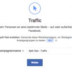 Auch Facebook bietet seit neustem bei einigen Kampagnenzielen (hier: Traffic) die Option von Splittests an.