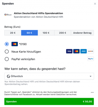 Screenshot Spendenaktion Aktion Deutschland Hilft.
