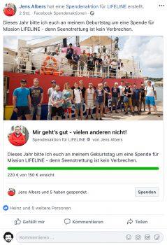 Screenshot Spendenaktion auf Facebook für LIFELINE: