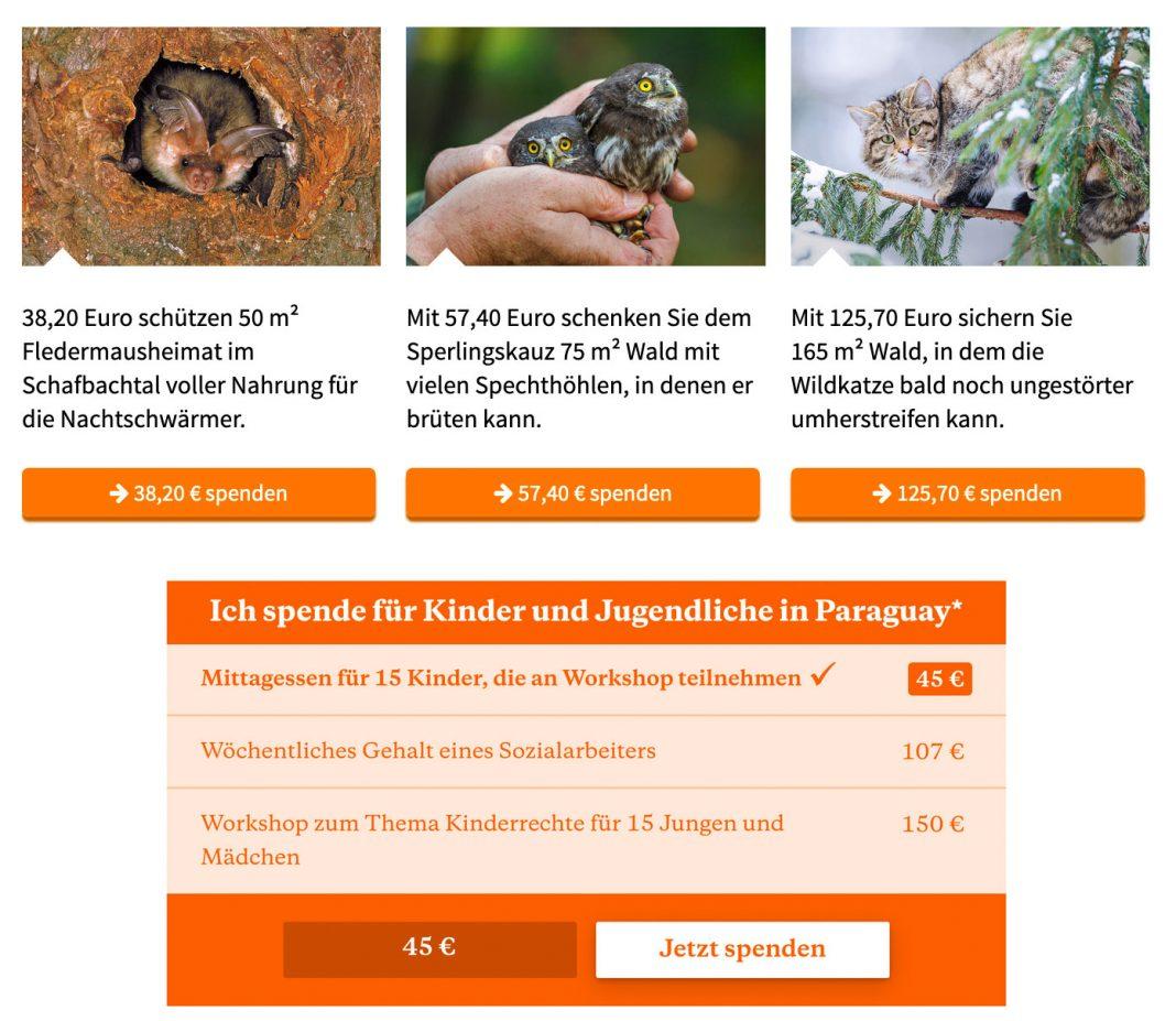 Screenshots von Shoppinglists vom NABU und Brot für die Welt.