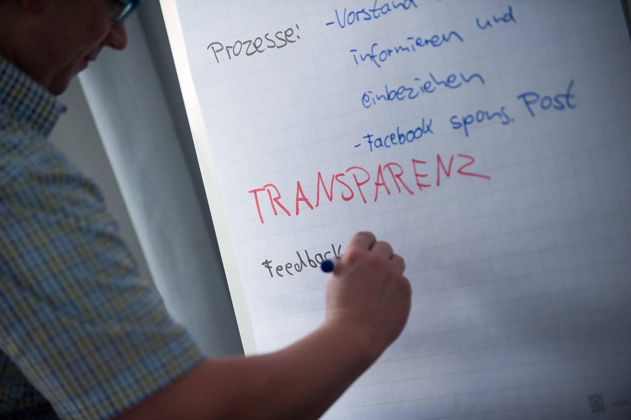 """Mensch schreibt """"Transparenz"""" auf ein Flipchart."""